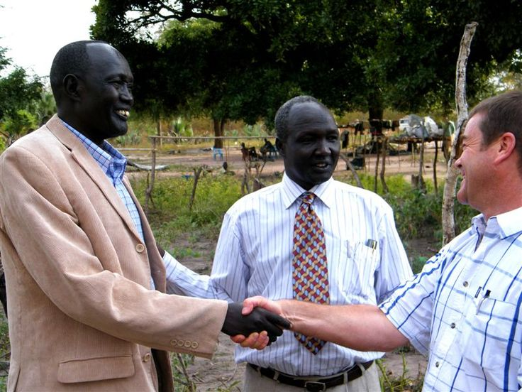 Leaders of Lakes province in South Sudan meet with Executive Director of the Hippo Water Roller Project, Grant Gibbs.