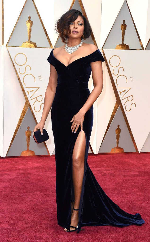 Taraji P. Henson from Oscars 2017: Best Dressed Women  This Alberta Ferretti dress is killer! Can't choose a favorite detail between the cut of the neckline, the length of the slit and the fact she went with navy over black. Honorable mention: Those Nirav Modi jewels around her neck and finger.