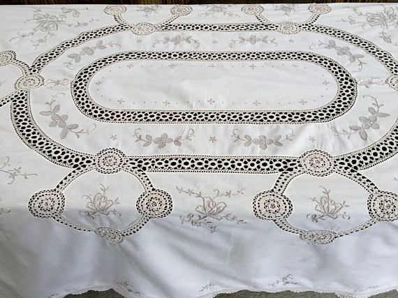 Embroidered Vintage Linen Tablecloth with Crochet Detail. Embroidered Ivory/Ecru Linen Tablecloth with Crochet Lace Inlays RBT1798