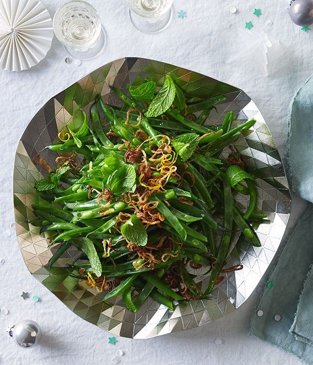 Green bean salad with mint, fried shallot and lemon recipe | Salad recipe - Gourmet Traveller