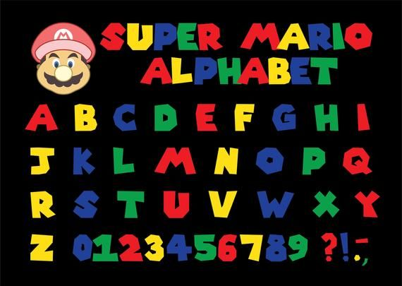 Super Mario Alphabet Super Mario Font Mario Fon Vector Clipart Svg Png Ai Dxf Eps Super Mario Bros Party Super Mario Brothers Super Mario