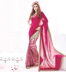 Pink Color Georgette Kitty Party Sarees : Vrushali Collection  YF-43086