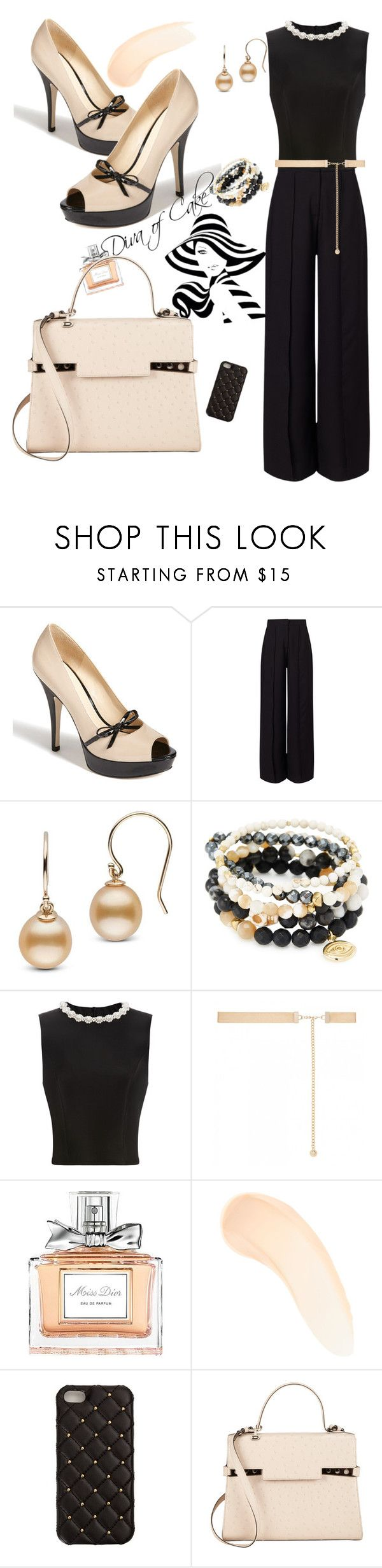 """Sexy outfit black beige and gold"" by Diva of Cake on Polyvore featuring Enzo Angiolini, Miss Selfridge, Good Charma, Simone Rocha, Forever New, Christian Dior, Zelens, 2Me Style and Delvaux"