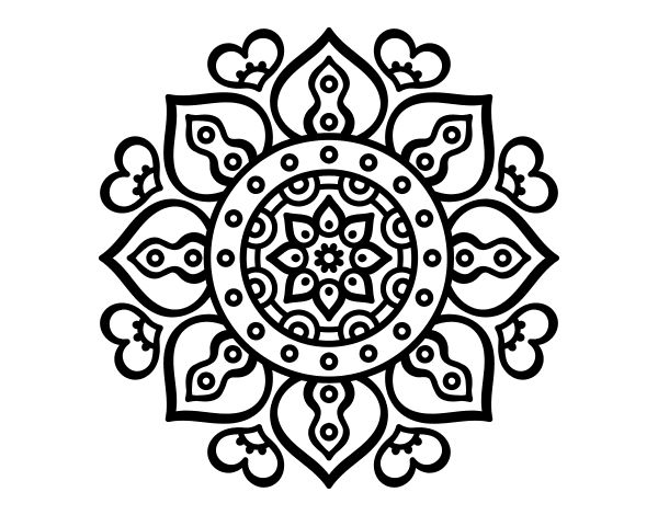 Dibujo de Mandala corazones árabes para Colorear