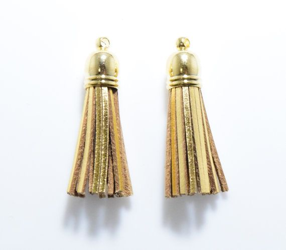 Gold Leather Tassel Pendant, Jewelry Craft Supply, Polished Gold - 2pcs / SK0008-PG