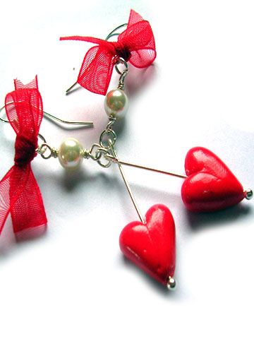 valentine's day polymer clay heart earings