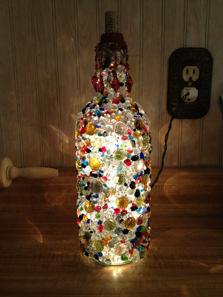 Mosaic wine bottle light! Finally completed my first ...