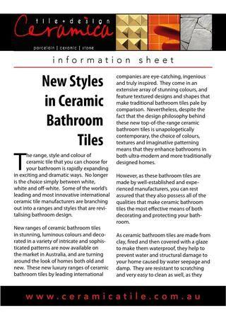 Ceramica Tile + Design Adelaide - New Styles in Ceramic Bathroom Tiles