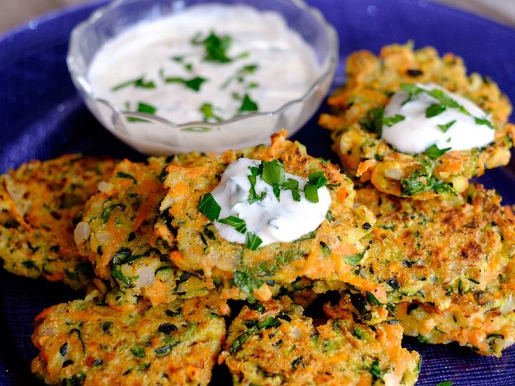 These Zucchini Fritters with Dairy-Free Garlic Sauce are a must have!