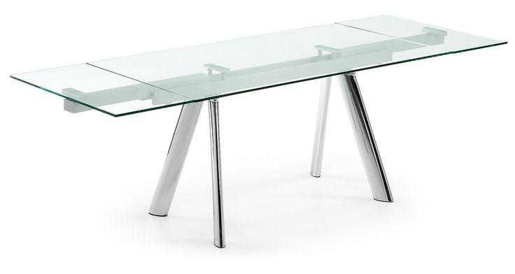 Air mesa comedor extensible 160 240 cristal templado transparente y estructu - Table transparente extensible ...