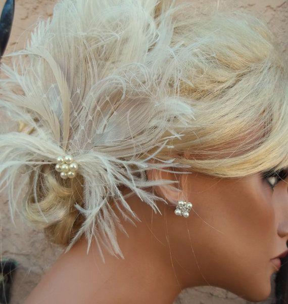 Wedding Feather Hair Clip Ivory Bridal Hair by kathyjohnson3