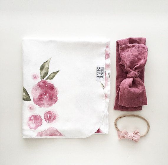 PRE-ORDER || Organic Baby Swaddle Blanket - Watercolor Floral Swaddle | the Kate | Exclusive print to Finn & Olive