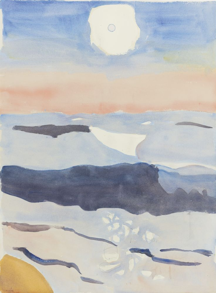 """Sunrise,"" Fairfield Porter, watercolor and pencil on paper, 30 x 22"", private collection."