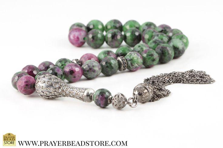 Ruby Zaosite Prayer Beads with Zirconia & Sterling Silver #ruby #prayerbeads #worrybeads #tasbih