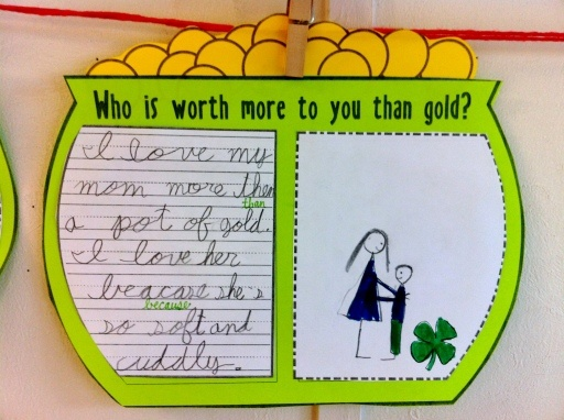 Who is worth more to you than gold? St. Patrick's Day writing activity.: Marching Activities, St. Patrick'S Day, First Grade Worksheets, Gold, Kindergarten Writing, Classroom Activities, Classroom Ideas, Writing Activities, St Patrick'S Day