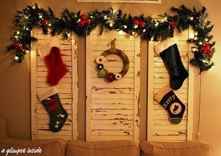 Use shutters as a place to hang stockings should you not have a fireplace.: