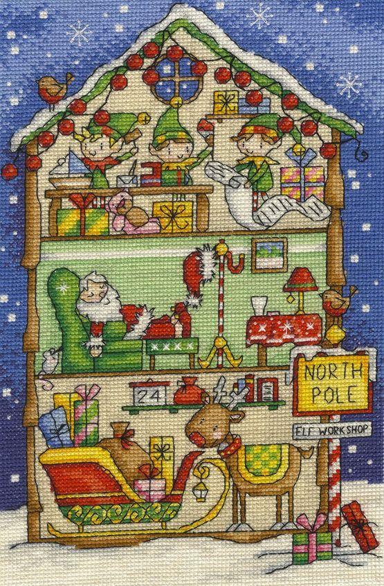 Elf's Workshop Cross Stitch Kit £22.50 | Past Impressions | DMC