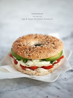 breakfast sandwich- bagel thin, laughing cow cheese, egg whites, avocado. -Find low calorie thin bagel or english muffin -use dairy free/fat free cheese and melt with egg whites (instead of laughing cow) -use tomatoes & roasted bell pepper
