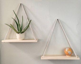 Hanging shelves Hanging planter shelves by WoodandSpoolStudio
