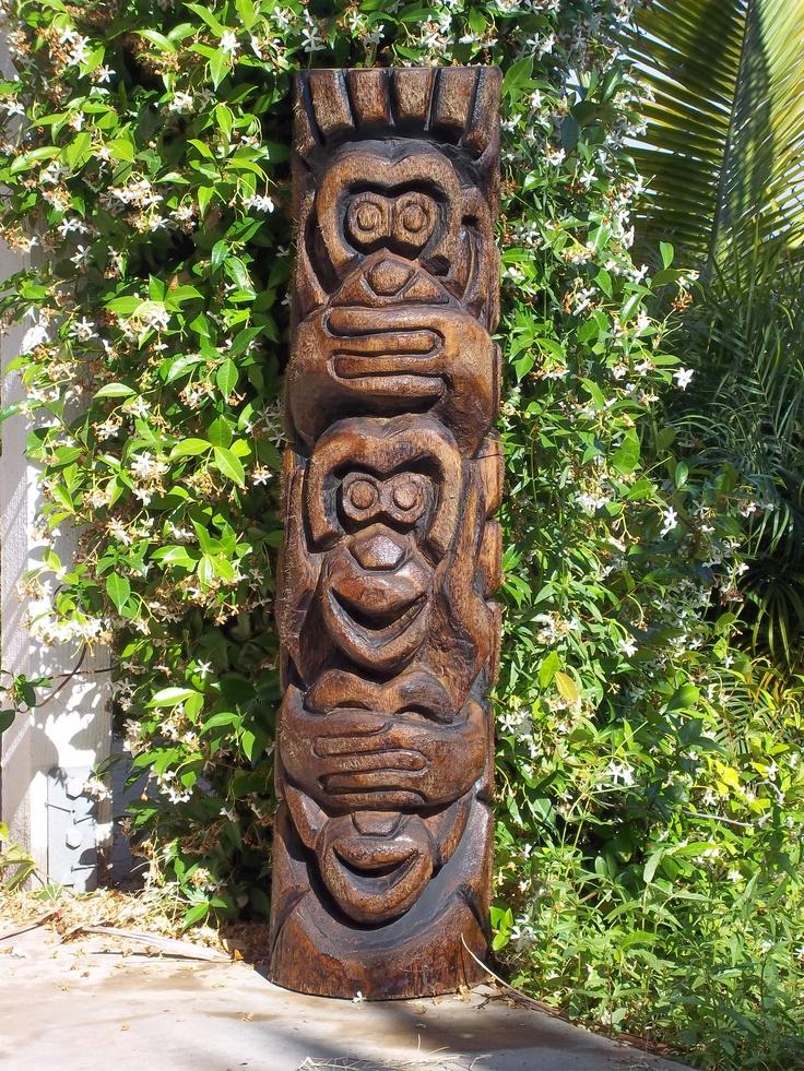 See no hear speak carved by skootiki tikis