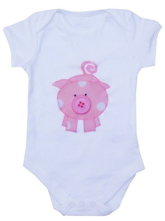 Pig Babygro / Bodysuit / Baby Shirt / All in by WithHugsandKisses, $12.99