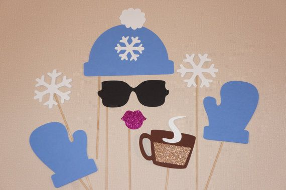 Winter Photo Booth Props - 8 piece set - GLITTER Photobooth Props - Snow Bunny, Periwinkle Blue on Etsy, $21.00