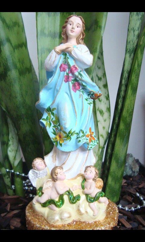 Nossa Senhora da Conceição, 20 cm, gesso, decoupagem, pintada a mão, purpurina