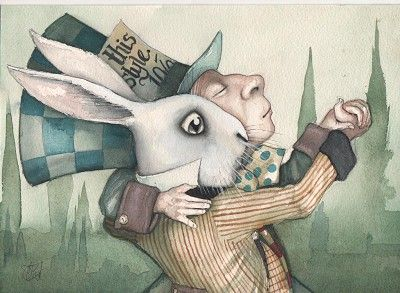 The Mad Hatter and The White Rabbit.  'Through A Dark Looking Glass' series by Dominic Murphy