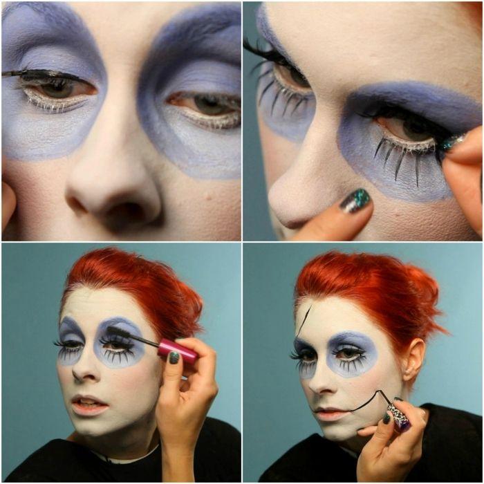 maquillaje novia cadaver, instrucciones para maquillaje halloween, delineador liquido, pestañas postizas