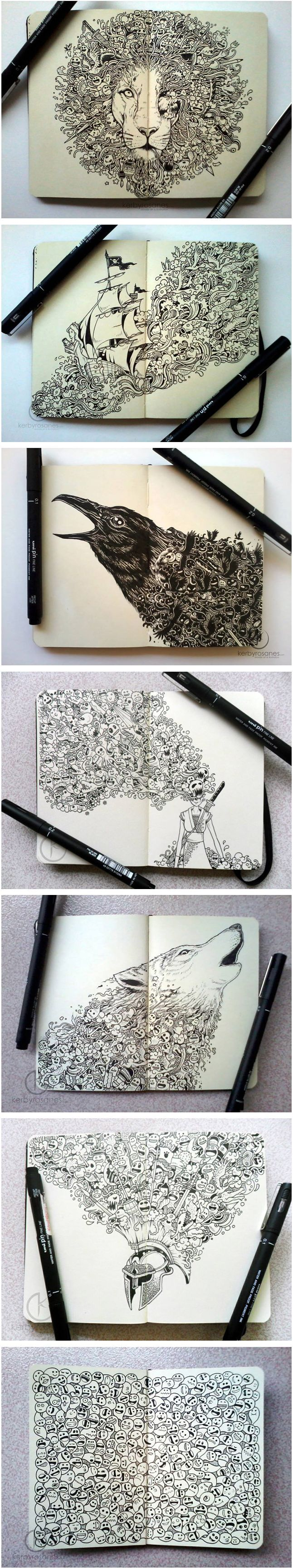 Moleskine Doodles by Kerby Rosanes. Drawings on a notebook