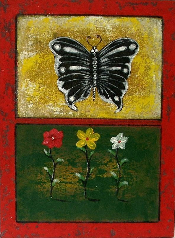 BLUMEN SCHMETTERLING GEMÄLDE Leinwand Bild Bali Malerei Blumengemälde Ubud in Antiquitäten & Kunst, Internationale Antiq. & Kunst, Asiatika: Südostasien | eBay!