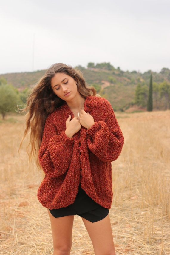 Chunky knit cardigan in sienna red tweed, oversized sweater, loose fitting slouchy cardigan, women's casual chunky knit sweater