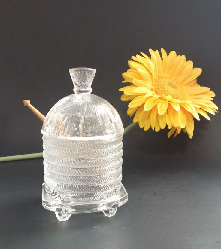 NBU Vintage Footed Beehive Shape Slotted Honey Pot with Dipper, L.E. Smith Glass, 1930's Honey Greman Dipper, 1960s Glass ,Honey Jar Beehive by MillysAtticTreasures on Etsy