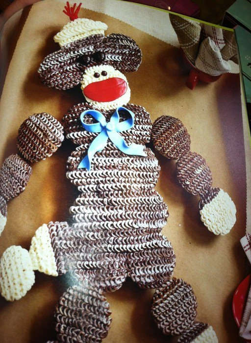 Sock Monkey out of cupcakes!