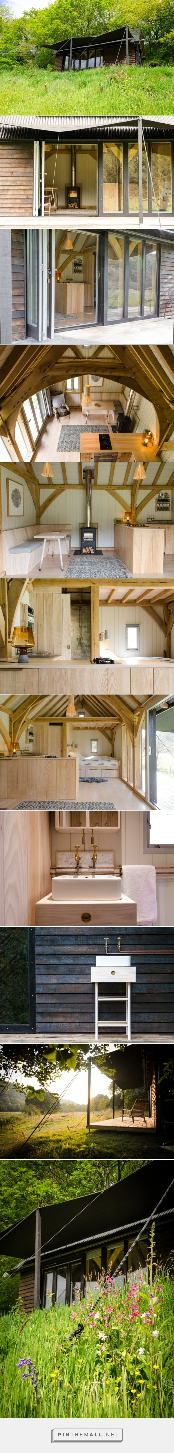 Don't like the benches but why not a couch/dining area?  Modern and Minimalist Tiny Oak Cabin - created via https://pinthemall.net