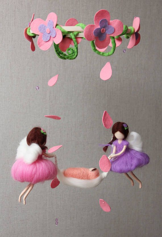 Children Mobile: Flying fairies with baby. Made of wool.
