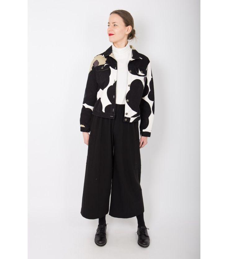 Marimekko Vintage Black Unikko Denim Jacket, 38 - WST