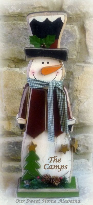 Personalized Snowman Sign Rustic Merry by OurSweetHomeAlabama, $39.95