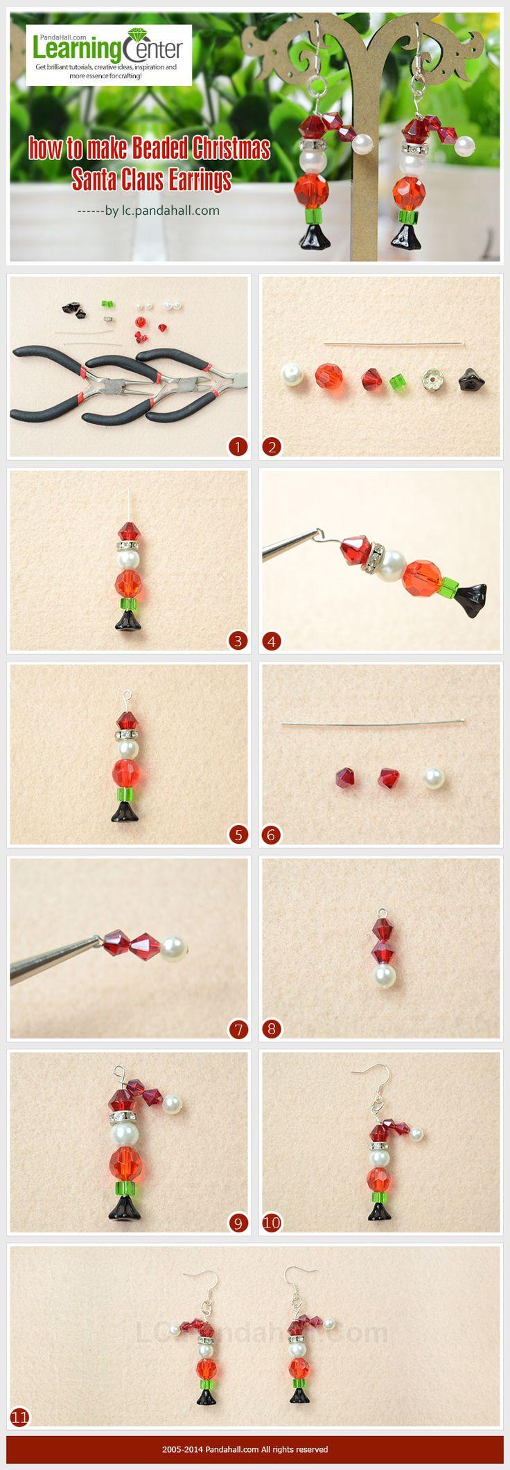 How to Make Beaded Christmas Santa Claus Earrings