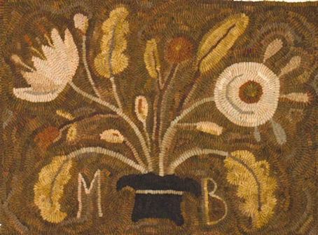 """Love these colors and the scale of the """"vase"""".  Old Homestead Flowers Hooked Rug Block a Month"""