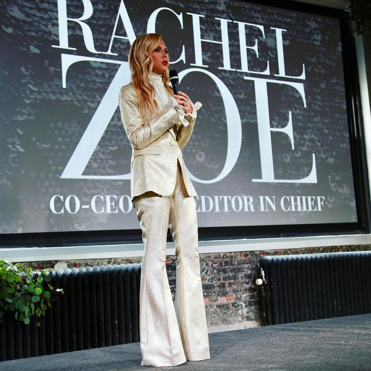Rachel Zoe In Gold Tuxedo Suit by Rachel Zoe Collection At The NewFronts