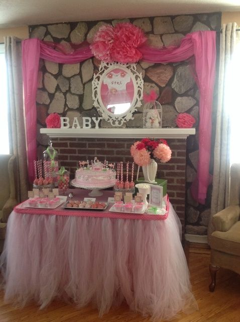 Gorgeous girl baby shower in pink with tutus!  See more party ideas at CatchMyParty.com!