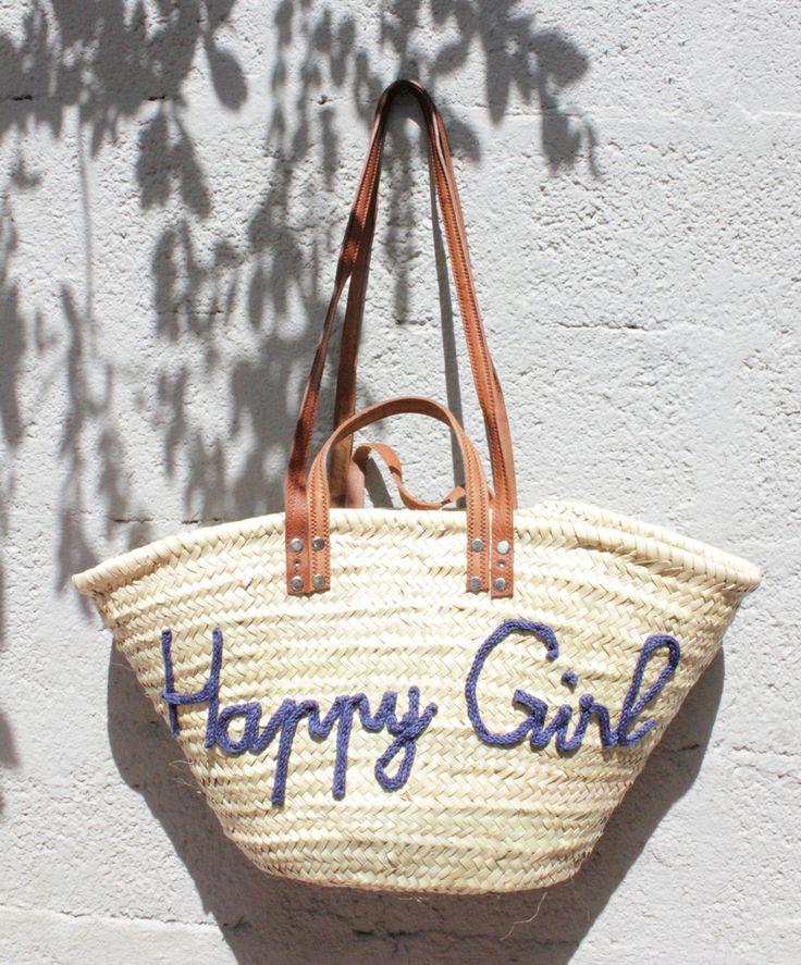 L'atelier Des Petites Bauloises: Panier de plage Happy Girl