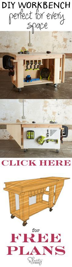 The perfect workbench for any garage or shop! It is inexpensive and easy to build, has a 2 ft extension for added work space and it has casters allowing it to be tucked away when it's not in use. It also has a tons of room to store all of your tools! Roll it around with you while you work, lock in to place and roll in back against the wall when you are done! Free plans at www.shanty-2-chic.com