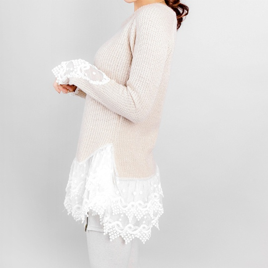 Add lace to old sweaters and make them new again