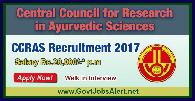 CCRAS Recruitment 2017 – Walk in Interview for Pharmacist, Office Assistant and Data Entry Operator Posts, Salary Rs.20,000/- : Apply Now !!!  The Central Council for Research in Ayurvedic Sciences - CCRAS Recruitment 2017 has released an official employment notification inviting interested and eligible candidates to apply for the positions of Pharmacist, Office Assistant (Hindi), Office Assistant (Admn.) and Data Entry Operator.
