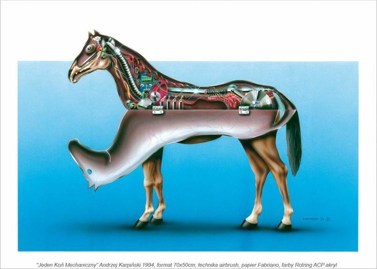 Andrzej#Karpinski#Jeden#koń#mechaniczny#1994#akryl#aerograf#50x70 cm