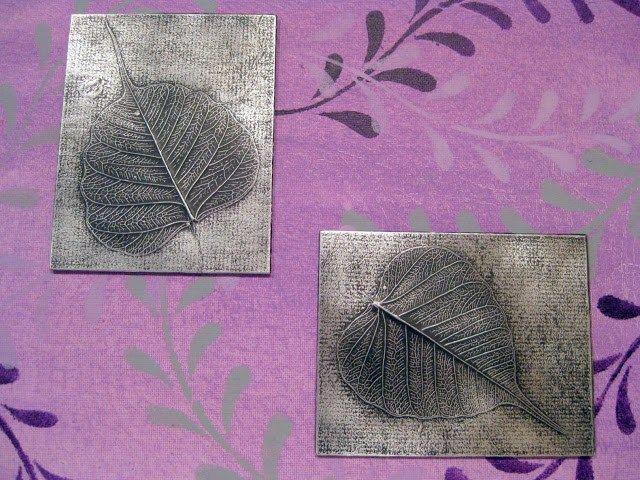 Cuadro de hojas en papel aluminio