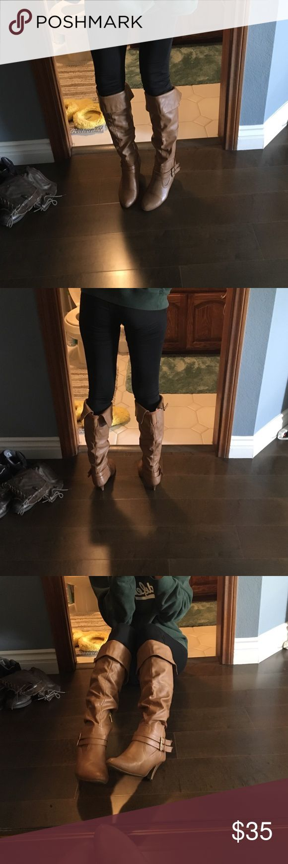 brown thigh high boots super cute chestnut thigh high boots! you can also fold them down to be at your knee. super comfortable and they keep your legs warm. Shoes Over the Knee Boots