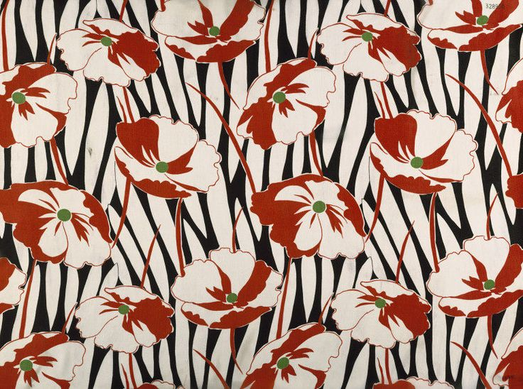 Dress fabric | Calico Printers' Association | Manchester, England, 1933 | Printed silk georgette. Fabric is printed with repeat of flowers and stems in white, red and green, on a black and white background. Floral printed fabrics held a prominent place in every smart woman's wardrobe in the 1930s | VA Museum, London
